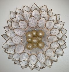 Paper Cone Wreath with Gold Balls