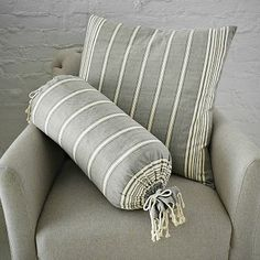 Chambray Stripe Pillow Covers In Feather Gray Ivory Fluff Neck Roll Cover