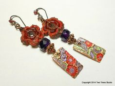 Roses by Any Other Name: Beautiful lightweight earrings rich in artisan glass, hand-painted copper, and gemstones.  By Two Trees Studio.