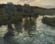 River Landscape, evening, Frits Thaulow. Norwegin Impressionist Painter (1847 - 1906)