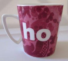 Pink Paisley ho ho ho Christmas 4 oz Mini Coffee Mug Cup Rosanna Studios #RosannaStudios
