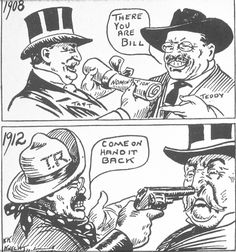 Political cartoon about the changes in the relationship between Theodore Roosevelt and William Howard Taft.