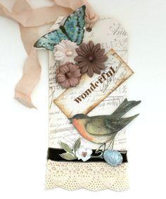 Vintage Shabby Bird Art Tag Handmade  OOAK. $6.00, via Etsy.