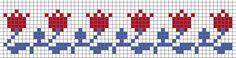 tulip border from Stitches & Crosses by Marijke – Steekjes & Kruisjes van Marijke – Join in the world of pin Fair Isle Knitting Patterns, Knitting Charts, Loom Patterns, Diy Embroidery, Cross Stitch Embroidery, Cross Stitch Designs, Cross Stitch Patterns, Cross Stitch Boards, Chart Design
