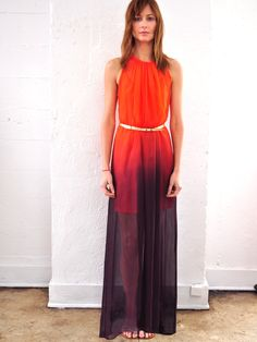 Awaken Dress, Silk Ombre, Tangerine to Indigo. $395.00, via Etsy.
