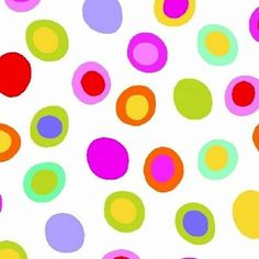 Rainbow Quilting Egg Dots by Fabric Traditions Multi Cotton. Fun and colorful print for kids with funky polka dots in yellow, blue, green, purple, red on white. Perfect for quilt backings, crafts, attire, fabric bags, home decor, quilts, applique ...
