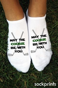 May The Course Be With You Always! Purchase a pair for your feet and another for your golf bag to keep The Force flowing strong with you on all 18 holes. A fun and unique accessory for golfers. Our made-to-order socks are a 1/2 cushion, cotton blend no-show and we use eco-friendly apparel inks.