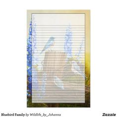 """Bluebird Family Stationery. Designed from my original oil painting """"Bluebird Family And Delphiniums"""" by Johanna Lerwick Wildlife/Nature Artist."""