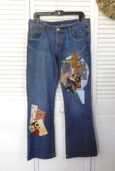 Patched Blue Jeans Size 10 Hippie Style Clothes by LandofBridget