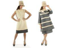 $195, Vintage 60s Lilli Ann Suit Gray Ivory Striped Jacket Sleeveless Dress A Line Mod Dress Set Suit 1960s Medium M by ScarletFury on Etsy