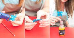 Faça cata-ventos pequenos de papel e fixe-os nos canudos, com o auxílio da cola quente. Coloque um em cada garrafinha