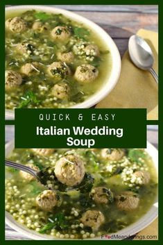 This Easy Italian Wedding Soup recipe is quick and easy using frozen meatballs a. - Soup - This Easy Italian Wedding Soup recipe is quick and easy using frozen meatballs a. Sweet And Sour Meatballs, How To Cook Meatballs, Italian Meatballs, Cooking Meatballs, Jelly Meatballs, Slow Cooking, Cooking Recipes, 21 Day Fix, Soup Recipes