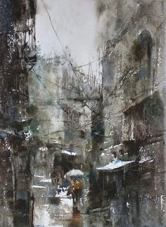 【Terrible rain / 大雨】37 x 27 cm Plien air watercolor by Chien Chung Wei