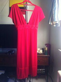 Victoria's Secret Red Dress MEDIUM Lace Piping V Cut Moda International NEW   #ModaInternational