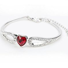 AngelBliss Female Austrial Crystal Simlpe Heart Jewelry Charm Design Bracelets Christmas Gift(Red) � Jewelry from Selena