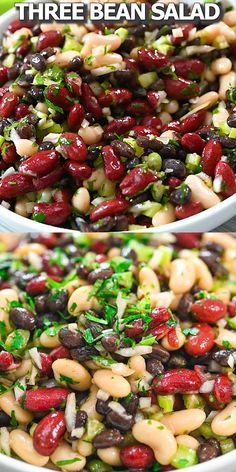 Three Bean Salad is such an easy dish to make. With onion, celery, and parsley mixed with the three different beans, your salad is full of protein and fiber and has a delightful mix of textures. Salade Healthy, Healthy Salad Recipes, Diet Recipes, Cooking Recipes, Healthy Broccoli Salad, Avocado Recipes, Healthy Bean Salads, Greek Recipes, Strawberry Salad Recipes