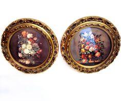 Vintage Flower Prints, Framed Art