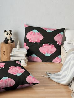 """Pink Flower"" Floor Pillow by Floor Pillows, Throw Pillows, Sell Your Art, Pillow Design, Flower Patterns, Pink Flowers, Vibrant, Cushions, Flooring"