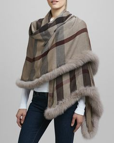 Fur-Trimmed Check Scarf by Burberry at Neiman Marcus.