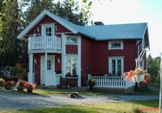 cute :) Widow's Walk, Red Cottage, House Exteriors, Scandinavian Home, Old Houses, Finland, Beautiful Homes, New Homes, Outdoor Structures