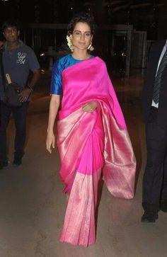 Kangana Ranaut in a pink silk saree