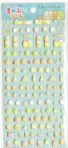 Kawaii Japan Sticker Sheet Assort: Mini Puffy Sumikko Gurashi Blue Stickers for Diy Decoration Planner Schedule Book