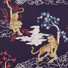 Drawing inspiration from traditional Chinese landscape paintings, our designers created the detailed tiger motif printed on this luxurious bedding. Woven of organic cotton percale, each piece is distinguished by a rich softness an… Japanese Tiger Art, Japanese Artwork, Japanese Dragon, Chinese Tiger, Tiger Illustration, Chinese Landscape Painting, Landscape Paintings, Cosplay Steampunk, Organic Duvet Covers