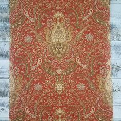 Waverly Classics York Wallcoverings rich red background amazing pattern in copper, chestnut brown, butter cream, caramel, gray-green. Wallpaper Fireplace, English Interior, Damask Wallpaper, Red Background, My Dream Home, Green And Grey, Vintage Antiques, Interiors, Pattern