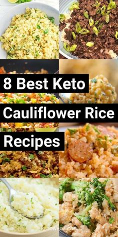 8 Best Low Carb Keto Cauliflower Rice Recipes That'll Be Household Favorites! - Keto Whoa 8 Best Low Carb Keto Cauliflower Rice Recipes That'll Be Household Favorites! Califlour Recipes, Low Carb Recipes, Salad Recipes, Healthy Recipes, Dinner Recipes, Dessert Recipes, Desserts, Keto Foods, Best Keto Meals
