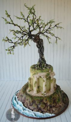 My Tree Lovers for Greece cake created for Love Around the World collaboration, by MadHouse Bakes. Crazy Cakes, Gorgeous Cakes, Amazing Cakes, Cake Icing, Cupcake Cakes, Bolo Laura, Fantasy Cake, Tree Cakes, Sculpted Cakes