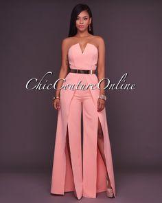 Chic Couture Online - Jaiden Peach Wide Slit Legs Jumpsuit, (www. African Fashion Dresses, African Dress, Sexy Dresses, Beautiful Dresses, Jumpsuit Elegante, Fashion Wear, Fashion Outfits, Chic Couture Online, Plus Size Party Dresses