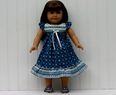 Blue Christmas DOLL Nightgown/ Slippers, fits 18-inch Amer Girl Doll,100% Cotton WOVEN fabric, Blue & White Snowflakes, READY to Ship