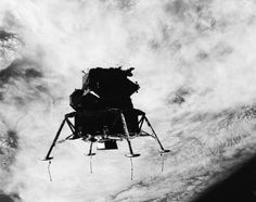 Apollo 9, 1969 The Apollo 9 lunar module is photographed in flight after separating from the command-service module on March 17, 1969. The string-like pieces on the four landing pods are the moon sensors, which tell pilots when touch down nears.