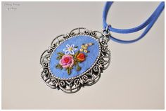 Hand embroidery necklace hand stitched roses by DreamCreates