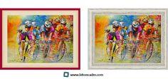 """Quel type d'encadrement choisiriez-vous pour encadrer le Tour de France 2014 ?  Un cadre """"Caisse Américaine"""" de couleur blanc (où vous pourrez ajouter un liseré de couleur), à partir de 28,88€ sur www.leboncadre.com ou Un cadre """"Caisse Américaine"""" de couleur blanc décapé à partir de 37,79€ sur www.leboncadre.com  (Peinture sur toile de Miki de Goodaboom)"""