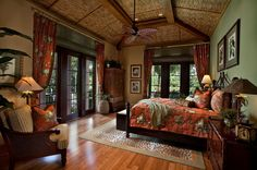 Unlike the neutral palette of British colonial style, tropical home design ideas (in their present form) include a lot of bright and brave tones and patterns Tropical Bedrooms, Tropical Home Decor, Tropical Houses, Tropical Style, Tropical Interior, Tropical Prints, Coastal Style, Tropical Master Bedroom, Hawaiian Bedroom