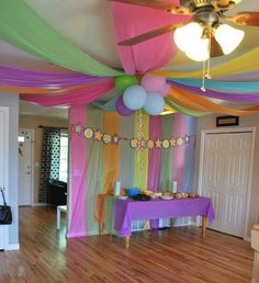 Cheap decoration ideas  Plastic table clothes   balloons   It s My     Party