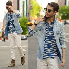 Blue Henley, Denim Shirt, Off White Pants, Dark Brown Here   Boots, Clubmasters