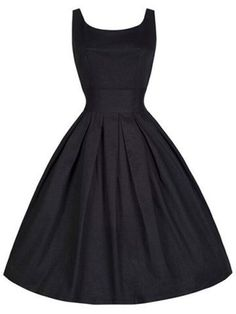 Black Plain Pleated Sleeveless Scoop Neck Vintage Dress