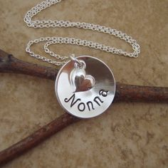 Nonna necklace  Hand stamped necklace  Name by filigreepheasant