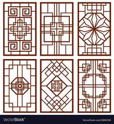Illustration about Traditional korean door and window ornament, chinese wall design, japan frames vector set. Illustration of banner, classic, background - 85122828 Grill Design, Fence Design, Door Design, Border Design, Design Design, Korean Design, Chinese Design, Traditional Doors, Traditional Design
