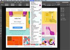 Screenshot – InDesign Benutzeroberfläche mit Englischem UI Get Started, Overlays, Layout, Tutorials, Different Languages, Random Stuff, Page Layout, Overlay, Wizards