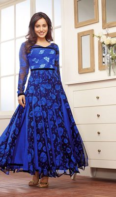 Neha Sharma Black and Blue Georgette Anarkali Dress Price: Usa Dollar $91, British UK Pound £54, Euro67, Canada CA$99 , Indian Rs4914.