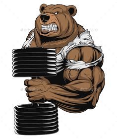 Vector illustration, a ferocious bear the athlete performs the. Illustration Vector, Vector Art, Vector Graphics, Ours Grizzly, Bear Tattoos, Gym Logo, Bear Logo, Bear Art, Faux Leather Jackets