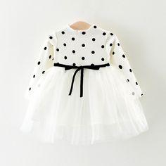 Polka Dot Bodice Long-sleeve Tutu Dress for Baby and Toddler Girls (pat pat)