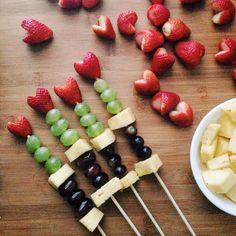 Easy fruit skewers for Valentine's Day, baby showers, after-school snacks.
