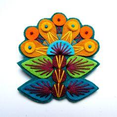 INGRID felt brooch pin with freeform embroidery - scandinavian style. £15.00, via Etsy.