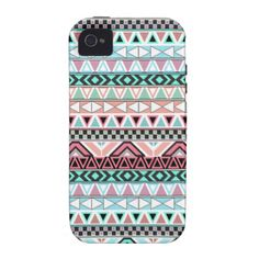 Andes Teal Pink Cute Pastel Abstract Aztec Pattern iPhone 4/4S Cover