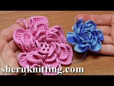 How To Crochet Fluffy Flower Tutorial 4 Part 1 of 2