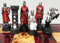 Medieval Times Crusades Knight RED & WHITE Set of Chess Men Pieces Hand Painted W/ Maltese Cross >>> You can get additional details at the image link.